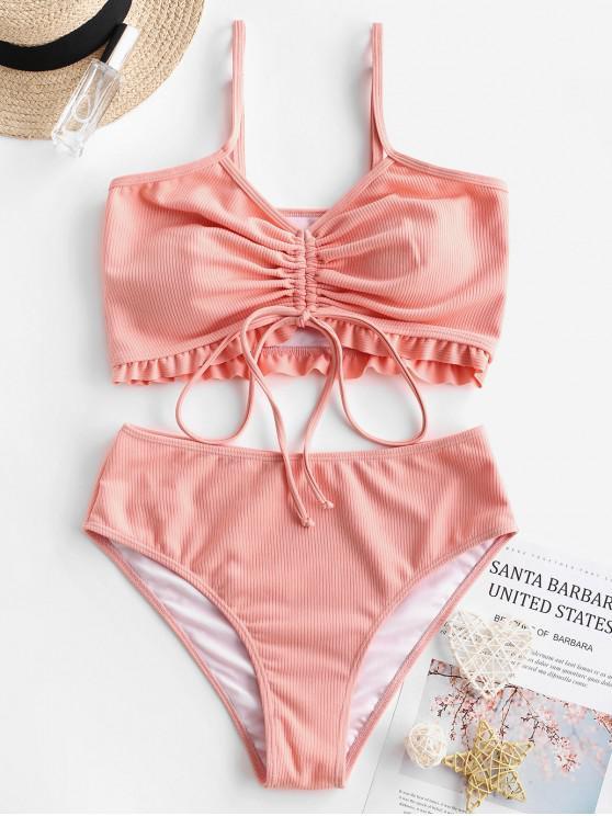 ZAFUL gulerat cinched Ribbed Tankini Swimsuit - Lumea somonului XL
