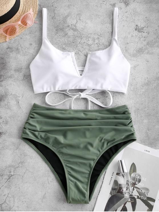 ladies ZAFUL V-wired Ruched Lace-up Tankini Swimsuit - GRAYISH TURQUOISE M