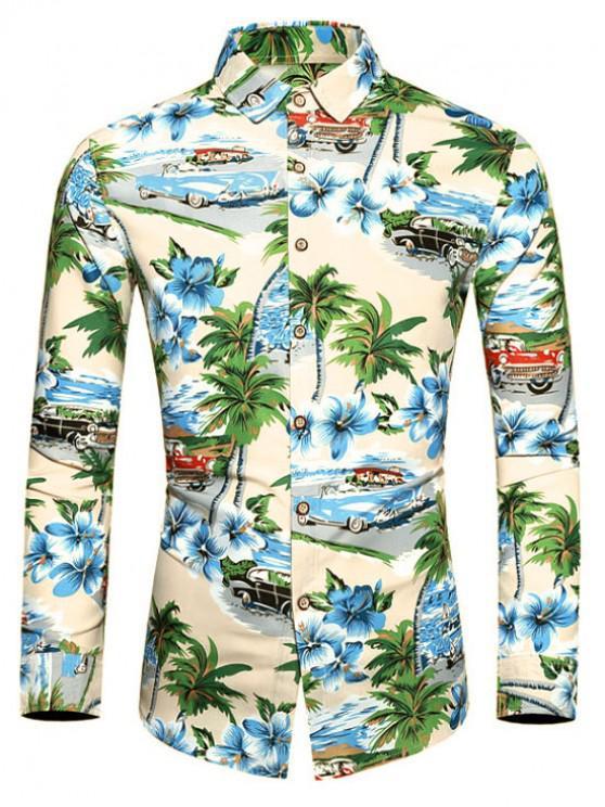 ladies Coconut Tree Floral Print Long Sleeves Shirt - DODGER BLUE XL