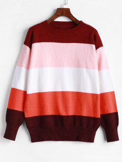 ZAFUL Loose Color Block Crew Neck Sweater - Multi M