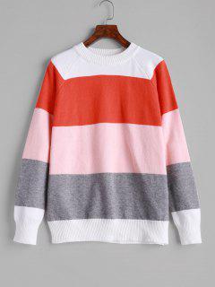 ZAFUL Crew Neck Raglan Sleeve Color Block Sweater - Multi M