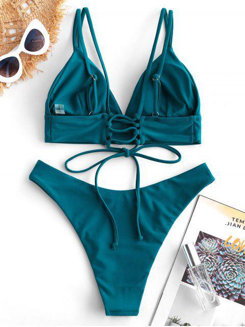 ZAFUL Maillot de Bain Bikini à Bretelle Coupe Haute à Lacets - Bleu Verdâtre M Mobile