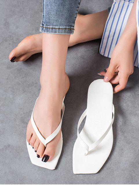 outfit Brief Square Toe Flat Flip Flops - WHITE EU 36 Mobile