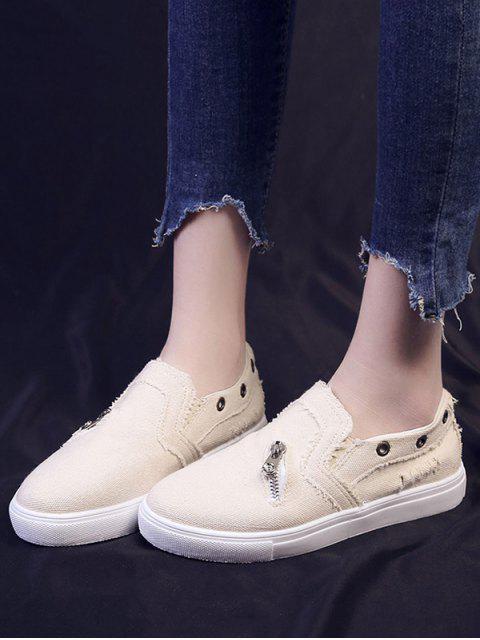 fashion Zip Accent Slip On Flat Shoes - BEIGE EU 36 Mobile