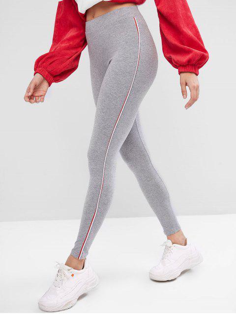 women High Waist Piping Skinny Leggings - GRAY ONE SIZE Mobile