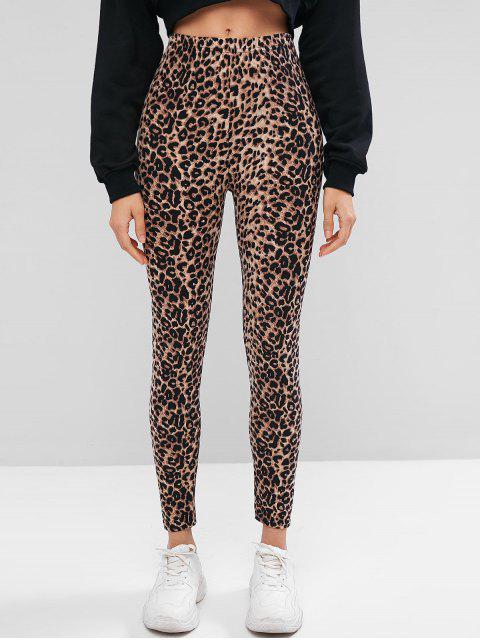unique Leopard Print High Waist Leggings - LEOPARD ONE SIZE Mobile