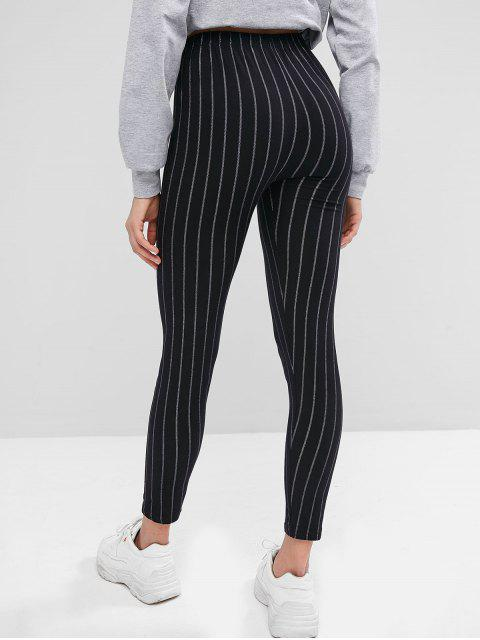 women's Striped High Waist Skinny Leggings - BLACK ONE SIZE Mobile