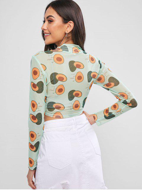 fashion ZAFUL Cropped Vitamin Fruit Print Sheer Mesh Tee - YELLOW GREEN XL Mobile
