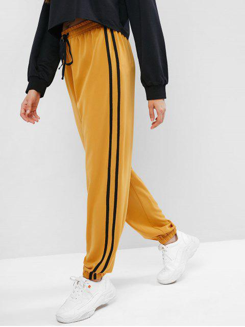 women's ZAFUL High Waisted Racing Stripes Jogger Pants - RUBBER DUCKY YELLOW S Mobile