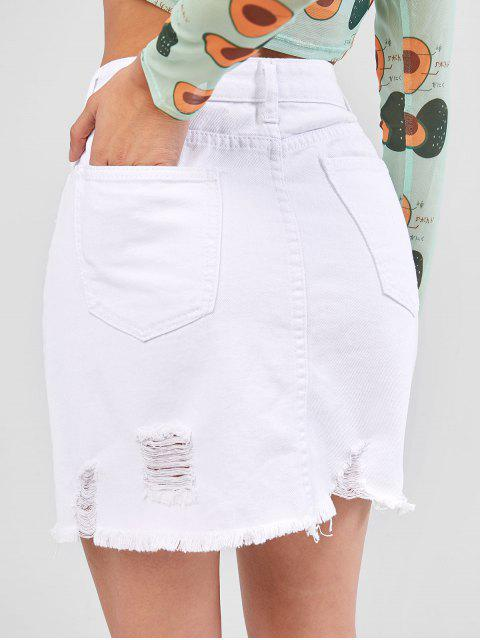 fashion Frayed Hem Destroyed Mini Skirt - MILK WHITE M Mobile