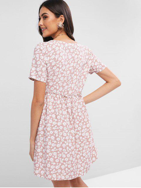 outfit ZAFUL Floral Print Lace Up A Line Dress - FLAMINGO PINK L Mobile