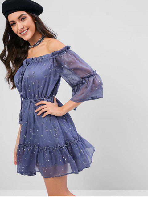 shops ZAFUL Off Shoulder Ruffle Star Mini Dress - BLUE GRAY M Mobile