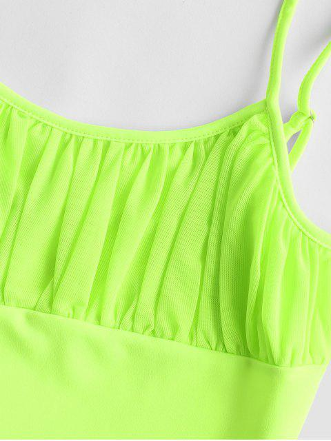 online Ruched Mesh Overlay Neon Cami Top - CHARTREUSE S Mobile