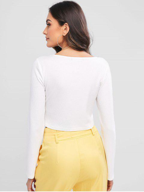 affordable ZAFUL Ribbed Cherry Embroidered Crop Top - MILK WHITE M Mobile
