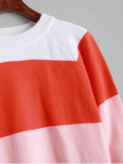 ZAFULクルーネックラグランスリーブ配色セーター - マルチ M Mobile
