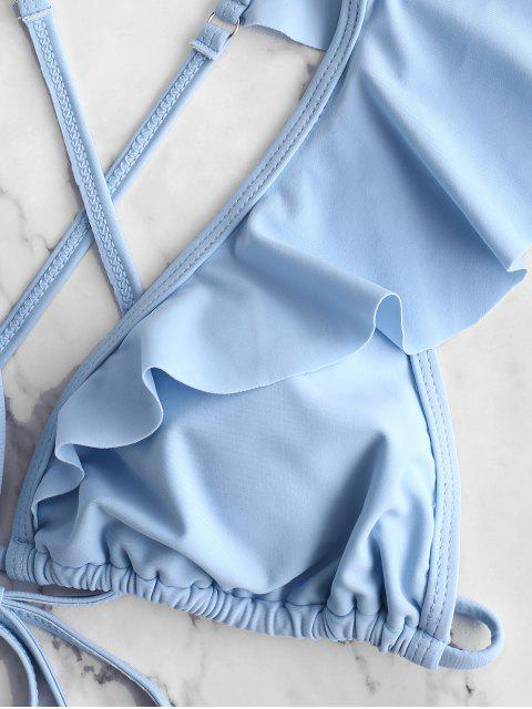 ZAFUL Flounce Criss Cross Plunge比基尼泳衣 - 羅賓蛋藍 S Mobile