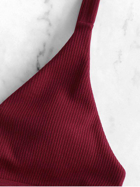 ZAFUL羅紋鏤空低腰比基尼泳衣 - 紅酒 L Mobile