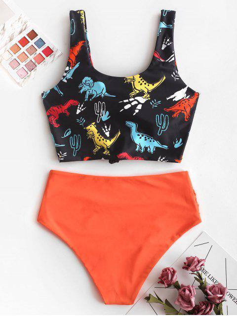 fashion ZAFUL Knot Dinosaur Print Ruched Tankini Swimsuit - ORANGE XL Mobile
