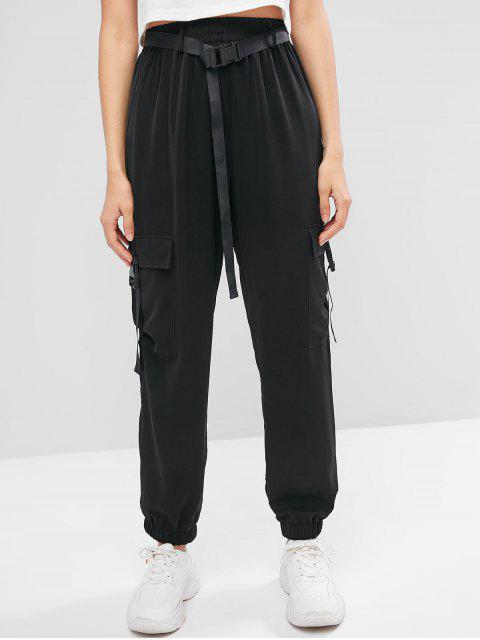 Pantalones jogger sólidos con cinturón y hebillas ZAFUL - Negro S Mobile