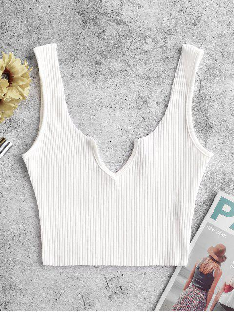 chic Ribbed V-notch Tank Top - WHITE M Mobile