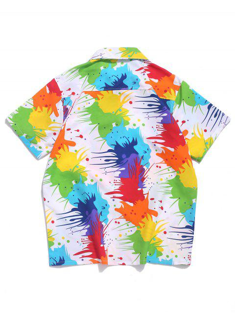 best Colored Painting Splatter Print Chest Pocket Beach Vacation Shirt - WHITE M Mobile