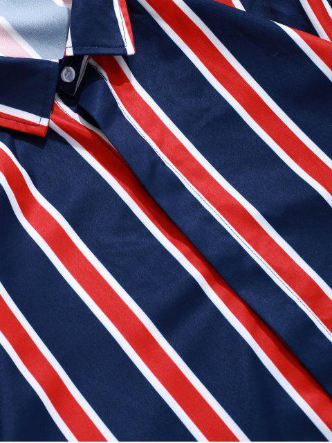 Altas-bajas del bloque del color de las rayas de impresión botón de la camisa - Azul Profundo 2XL Mobile