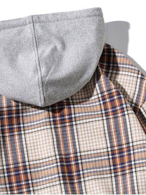 latest Chest Pocket Plaid Print Curved Hem Hooded Shirt - BLANCHED ALMOND M Mobile