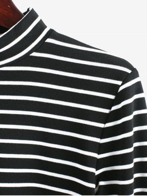 shop High Neck Stripe Crop Tee - BLACK S Mobile