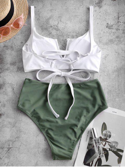 ZAFUL Bikini con Cordones Acanalada - Turquesa Gris M Mobile