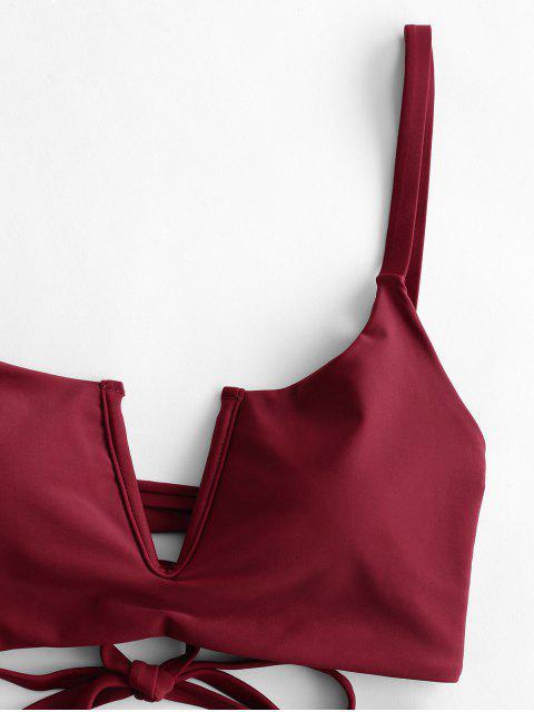 ZAFUL V-有線褶飾綁帶Tankini泳裝 - 黑色 XL Mobile