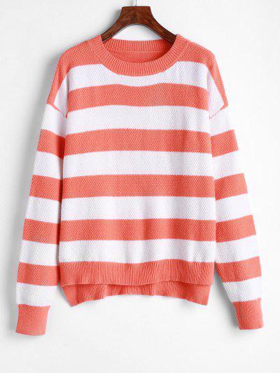 ZAFUL Striped High Low Drop Shoulder Jumper Sweater - Multi M