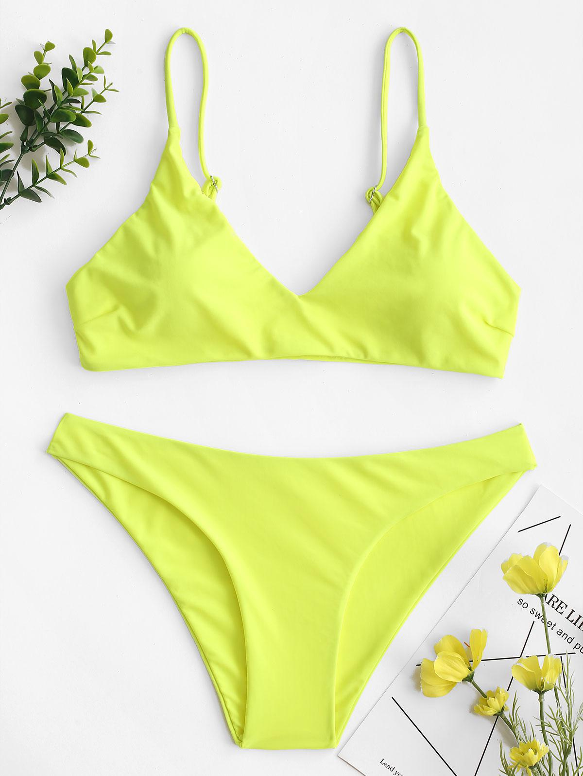 ZAFUL Solid Bralette Bikini Swimsuit thumbnail