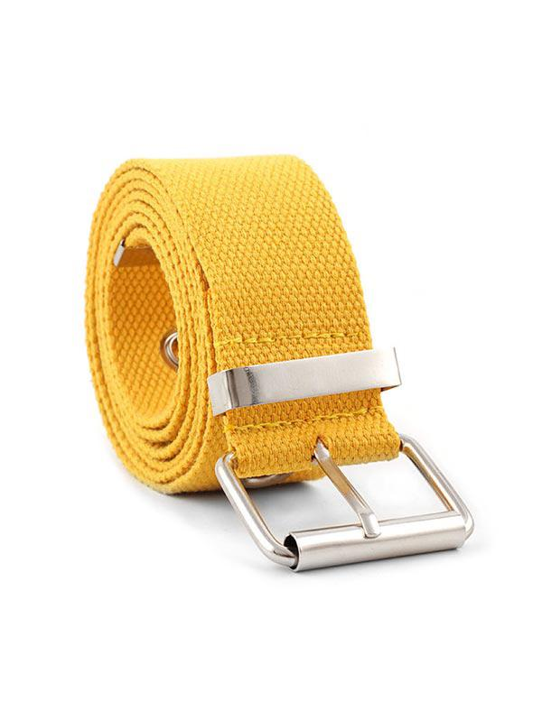 Grommet Buckle Cloth Belt, Bright yellow