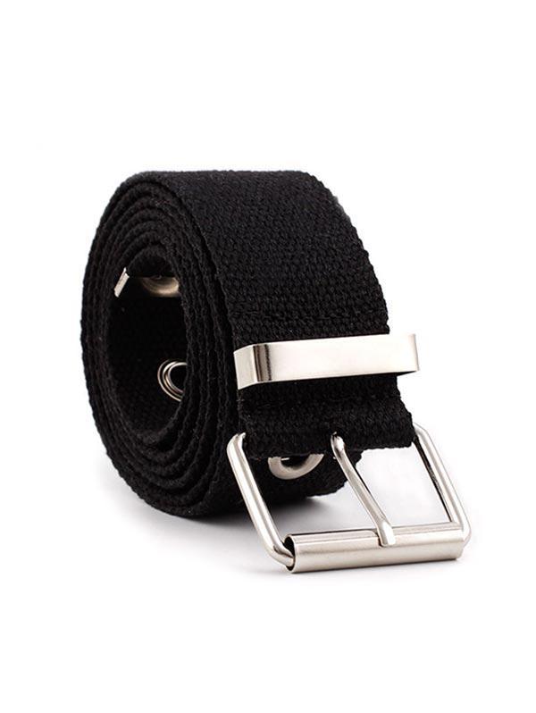 Grommet Buckle Cloth Belt, Black