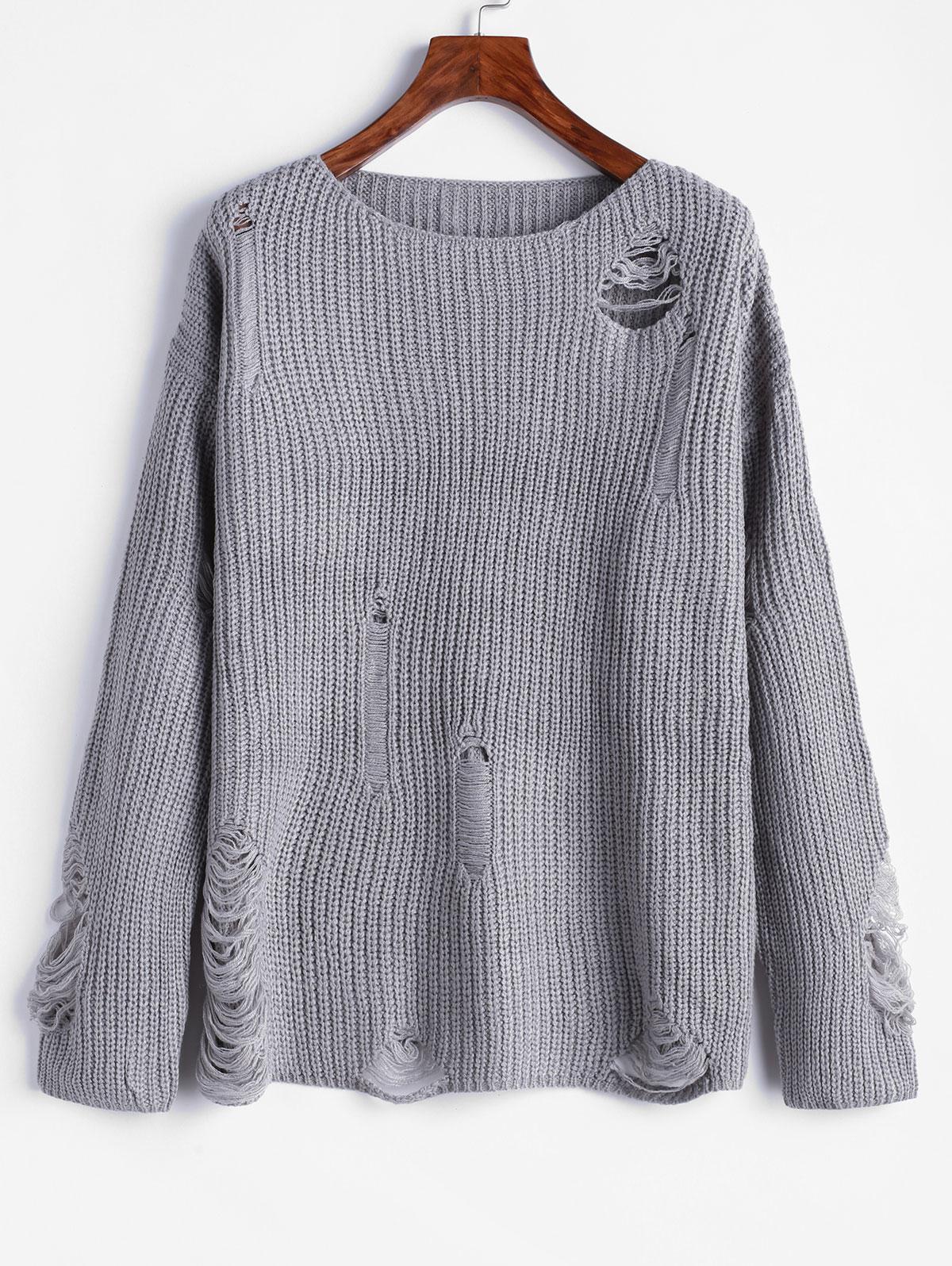 ZAFUL Drop Shoulder Ripped Jumper Sweater