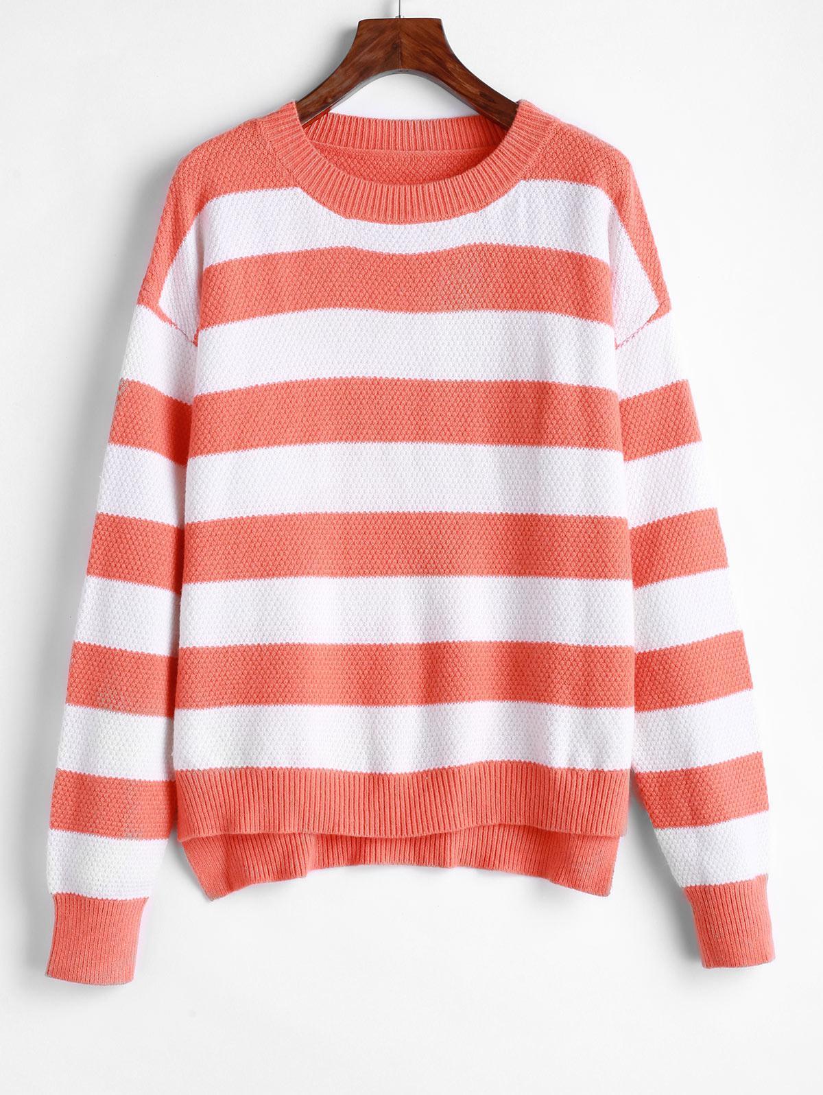 ZAFUL Striped High Low Drop Shoulder Jumper Sweater