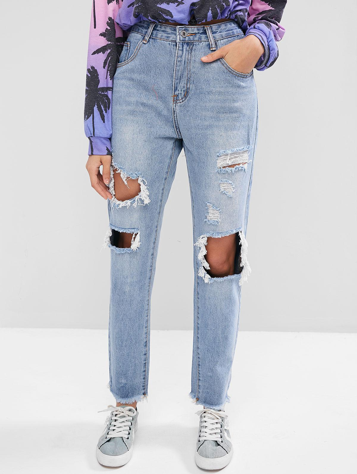 Ripped Cut Out Frayed Hem Jeans thumbnail