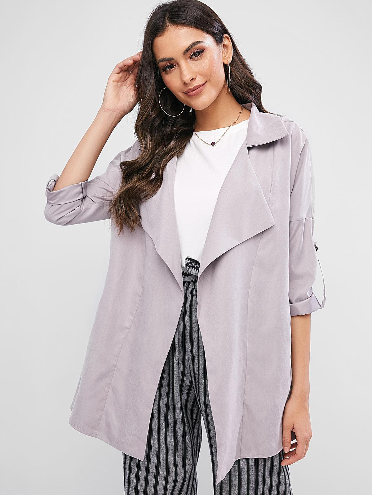 ZAFUL Pockets Buttoned Sleeve Tabs Open Front Coat thumbnail