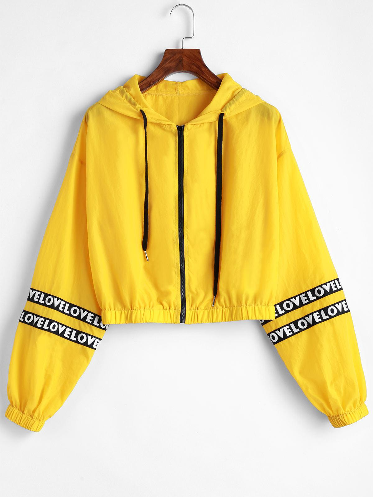 ZAFUL Letter Patched Hooded Crop Jacket thumbnail