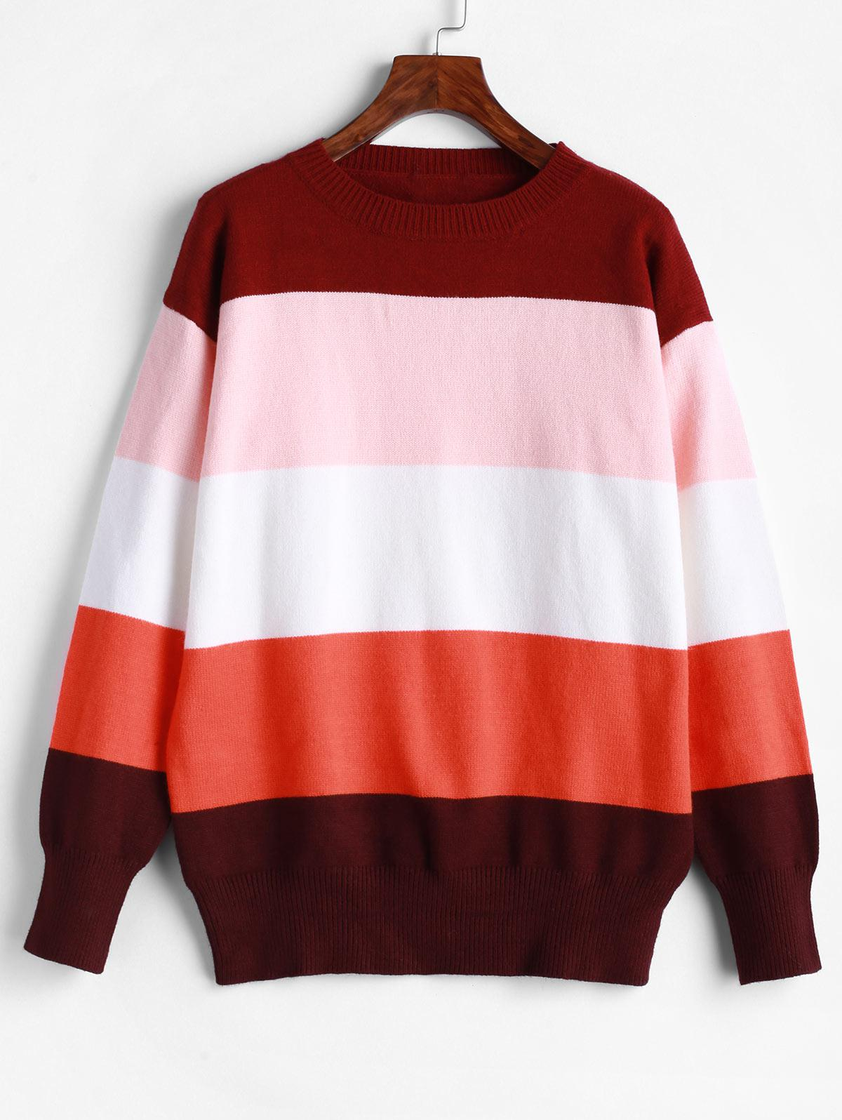 ZAFUL Loose Color Block Crew Neck Sweater