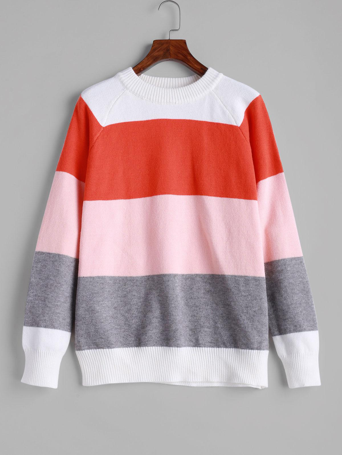 ZAFUL Crew Neck Raglan Sleeve Color Block Sweater