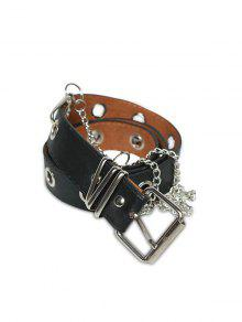 Grommet PU Leather Chain Embellished Waist Belt