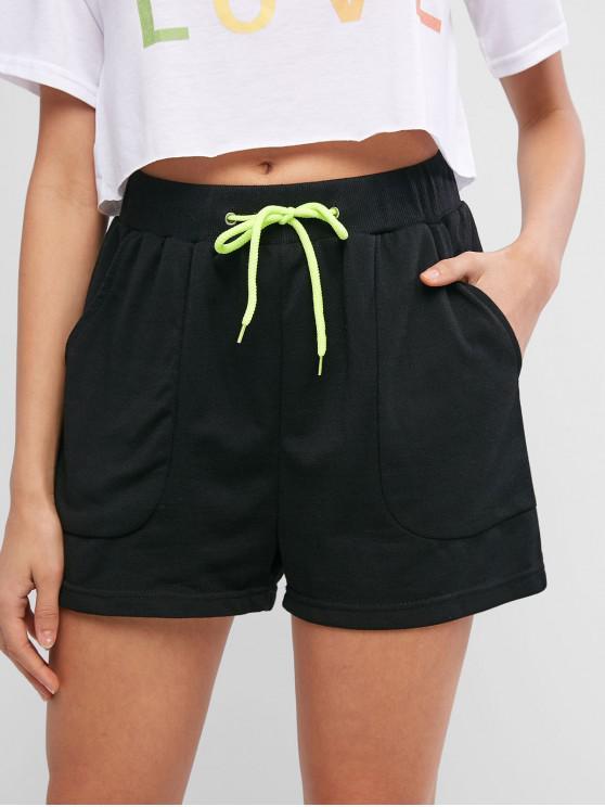 outfit Drawstring Neon Pocket Casual Shorts - BLACK S
