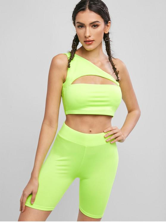lady One Shoulder Cut Out Neon Biker Shorts Set - TEA GREEN M