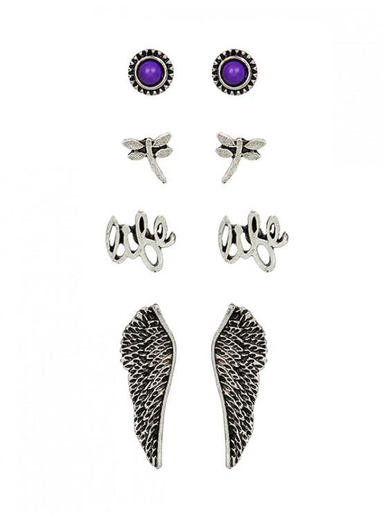 1413697f7aea0 Retro Dragonfly Wings Stud Earrings Set SILVER