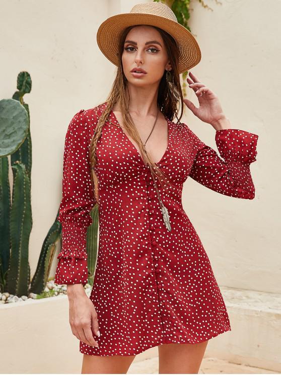 ladies Polka Dot Smocked Button Loop Flare Dress - RED L