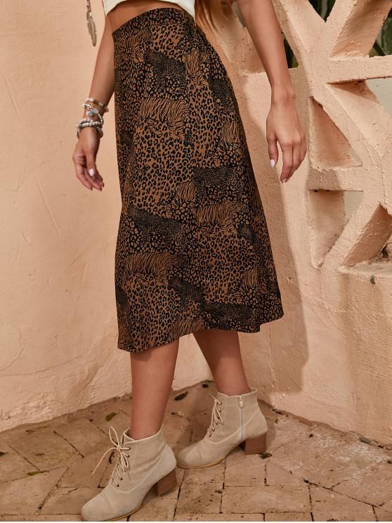 Vestido de línea de leopardo con forro de ZAFUL - Café Profundo M
