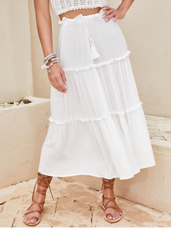 womens ZAFUL Lettuce Trim Self Tie Tassels Midi Dress - MILK WHITE M