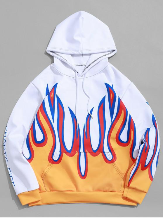 buy Flame Sports Fire Letter Graphic Print Kangaroo Pocket Hoodie - SAFFRON XL
