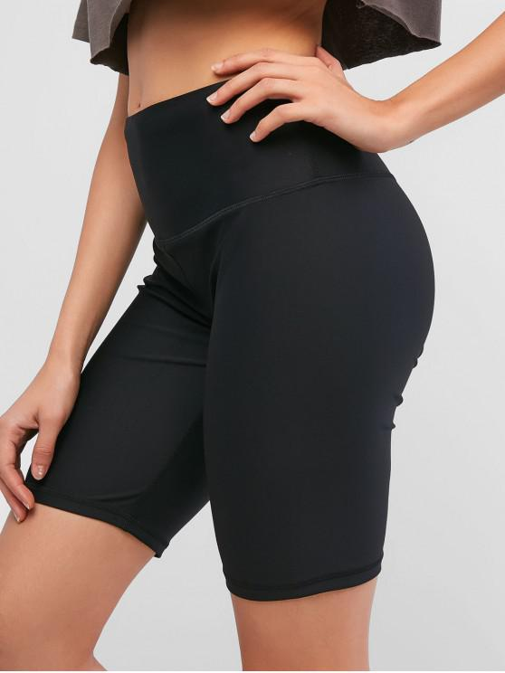 latest Stitching Solid High Waisted Biker Shorts - BLACK S